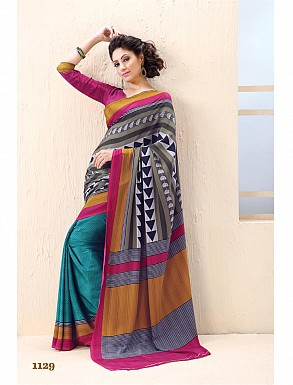 Thankar Aqua And Pink Crepe Printed Saree @ Rs988.00