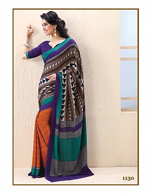 Thankar Blue And Orange Crepe Printed Saree @ Rs988.00