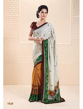 Thankar White And Yellow Crepe Printed Saree @ Rs988.00
