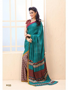 Thankar Aqua  Crepe Printed Saree @ Rs988.00
