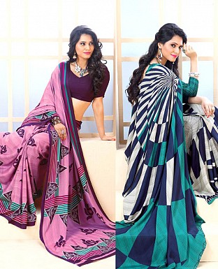 THANKAR COMBO ONE PURPLE PRINTED SAREE AND AQUA PRINTED SAREE @ Rs1977.00