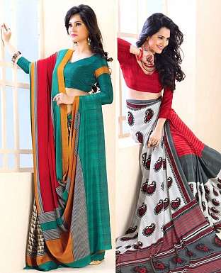 THANKAR COMBO ONE AQUA PRINTED SAREE AND RED PRINTED SAREE @ Rs1977.00