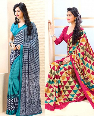 THANKAR COMBO ONE AQUA PRINTED SAREE AND PINK PRINTED SAREE @ Rs1977.00