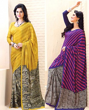 THANKAR COMBO ONE PURPLE PRINTED SAREE AND YELLOW PRINTED SAREE @ Rs1977.00