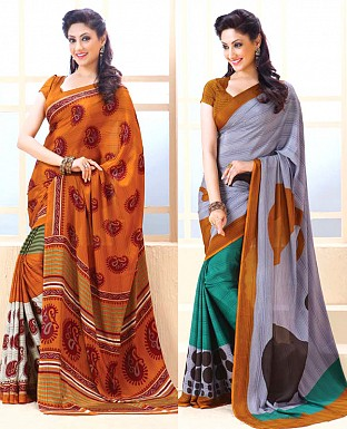 THANKAR COMBO ONE ORANGE PRINTED SAREE AND GREY PRINTED SAREE @ Rs1977.00