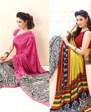 THANKAR COMBO ONE PINK PRINTED SAREE AND YELLOW PRINTED SAREE @ Rs1977.00