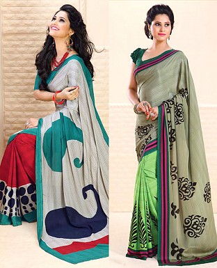 THANKAR COMBO ONE GREY PRINTED SAREE AND PARROT PRINTED SAREE @ Rs1977.00