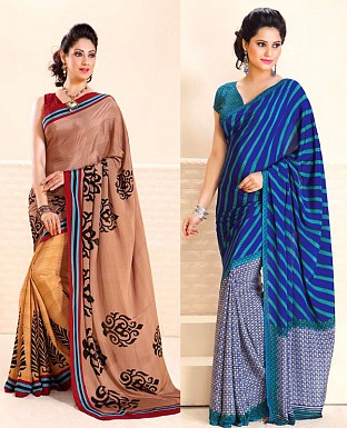 THANKAR COMBO ONE LIGHT BROWN PRINTED SAREE AND BLUE PRINTED SAREE @ Rs1977.00