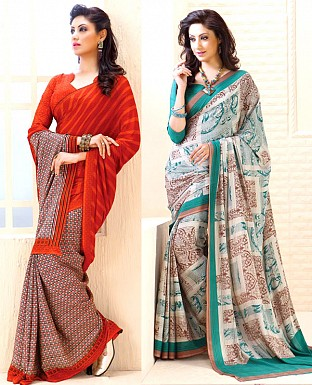 THANKAR COMBO ONE AQUA AND BROWN PRINTED SAREE AND ORANGE PRINTED SAREE @ Rs1977.00