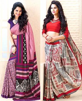 THANKAR COMBO ONE RED PRINTED SAREE AND PURPLE PRINTED SAREE @ Rs1977.00