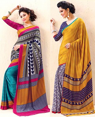 THANKAR COMBO ONE MULTY PRINTED SAREE AND YELLOW PRINTED SAREE @ Rs1977.00