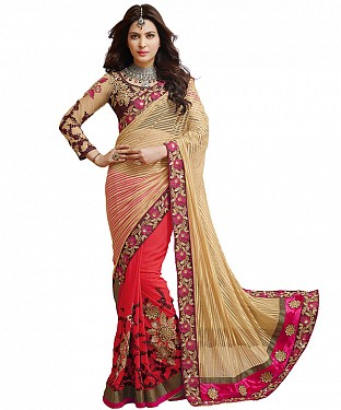 NEW ATTRACTIVE RED & CREAM DESIGNER SAREE @ Rs1606.00
