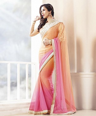 NEW ATTRACTIVE ORANGE DESIGNER SAREE @ Rs1606.00