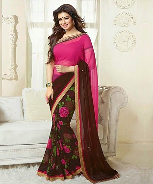 NEW ATTRACTIVE BROWN AND PINK DESIGNER SAREE @ Rs1112.00