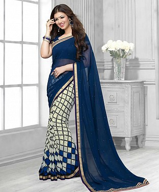 NEW ATTRACTIVE BLUE AND WHITE DESIGNER SAREE @ Rs1112.00