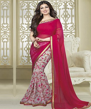 NEW ATTRACTIVE RED AND OFFWHITE DESIGNER SAREE @ Rs1112.00