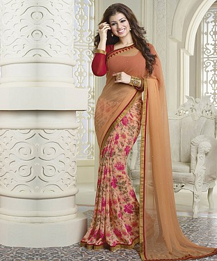 NEW ATTRACTIVE BEIGE DESIGNER SAREE @ Rs1112.00