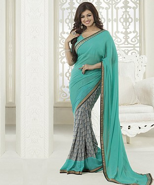 NEW ATTRACTIVE AQUA AND GREY DESIGNER SAREE @ Rs1112.00