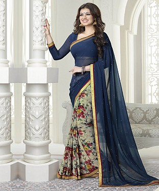 NEW ATTRACTIVE NAVY AND OFFWHITE DESIGNER SAREE @ Rs1112.00