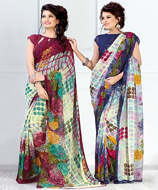 New Printed Maroon and Navy Designer Saree @ Rs1791.00