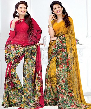 New Printed Red and Yellow Designer Saree @ Rs1791.00