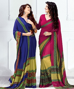 New Printed Blue and Pink Designer Saree @ Rs1791.00