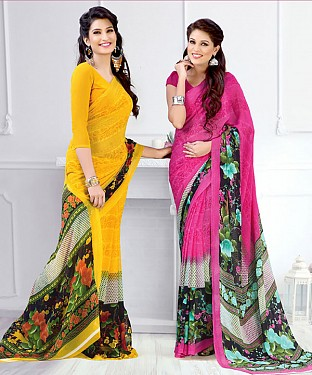 New Printed Yellow and Pink Designer Saree @ Rs1791.00
