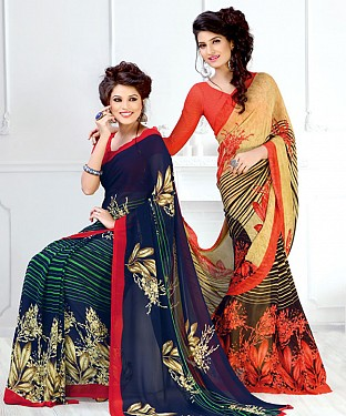 New Printed Navy and Orange Designer Saree @ Rs1791.00