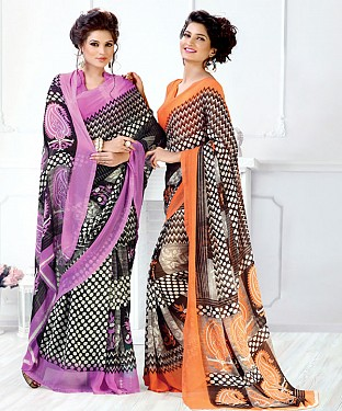 New Printed Purple and Orange Designer Saree @ Rs1791.00