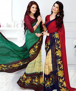 New Printed Aqua and Red Designer Saree@ Rs.1791.00