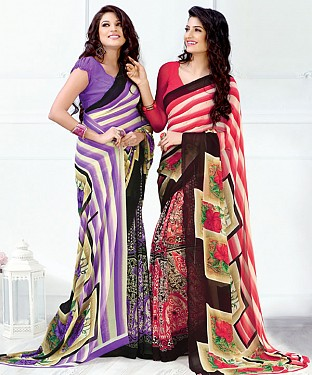 New Printed Purple and Pink Designer Saree@ Rs.1791.00