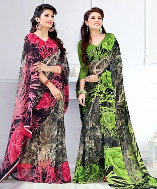 New Printed Red and Green Designer Saree @ Rs1791.00