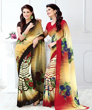 New Printed Brown and Red Designer Saree @ Rs1791.00