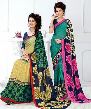 New Printed Yellow and Aqua Designer Saree @ Rs1791.00