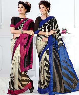 New Printed Pink and Blue Designer Saree @ Rs1791.00
