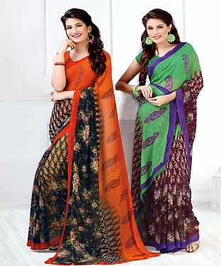 New Printed Orange and Green Designer Saree @ Rs1791.00