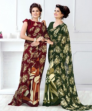New Printed Maroon and Green Designer Saree @ Rs1791.00