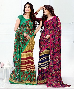 New Printed Green and Pink Designer Saree @ Rs1791.00