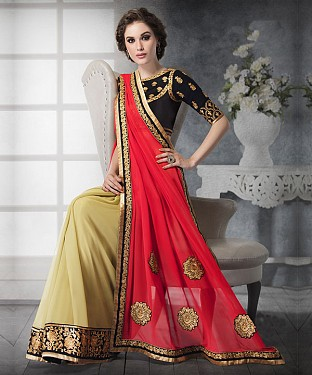 PEACH SHADED HEAVY BORDER DESIGNER SAREE @ Rs4325.00
