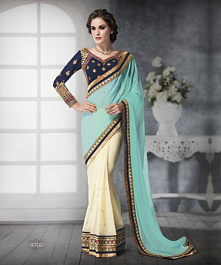 SKY SHADED HEAVY BORDER DESIGNER SAREE @ Rs4263.00