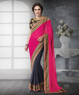 PINK SHADED HEAVY BORDER DESIGNER SAREE @ Rs5685.00