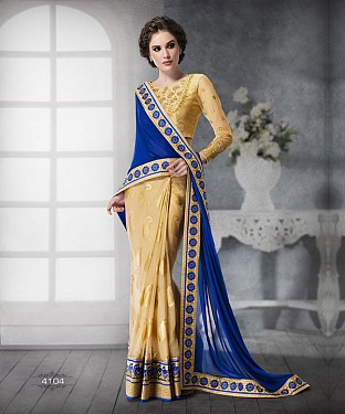BEIGE SHADED HEAVY BORDER DESIGNER SAREE @ Rs5685.00