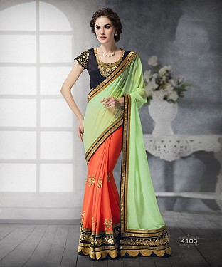 ORANGE SHADED HEAVY BORDER DESIGNER SAREE @ Rs4325.00