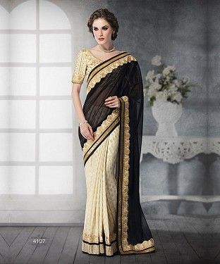 WHITE SHADED HEAVY BORDER DESIGNER SAREE@ Rs.5499.00