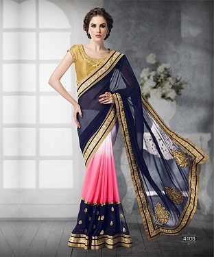 NAVY BLUE SHADED HEAVY BORDER DESIGNER SAREE @ Rs4263.00