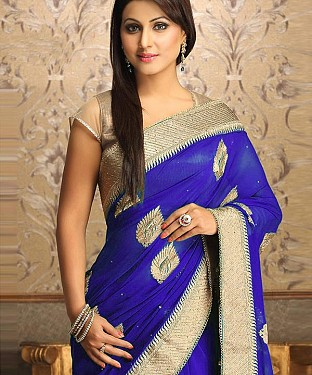 Gorgeous New Attractive Blue Designer Saree @ Rs1112.00