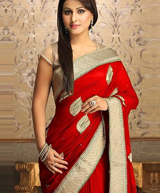 Gorgeous New Attractive Red Designer Saree@ Rs.1112.00