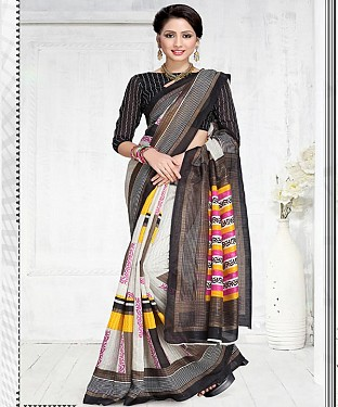 BLACK GREEN SILK PRINTED SAREE @ Rs1050.00
