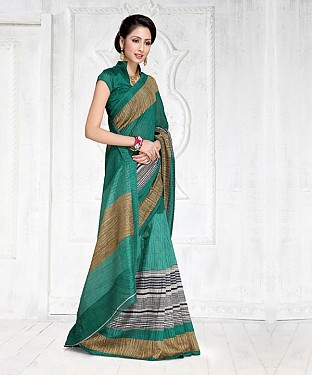GREEN GREEN SILK PRINTED SAREE @ Rs1050.00
