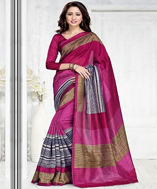 PINK GREEN SILK PRINTED SAREE @ Rs1050.00